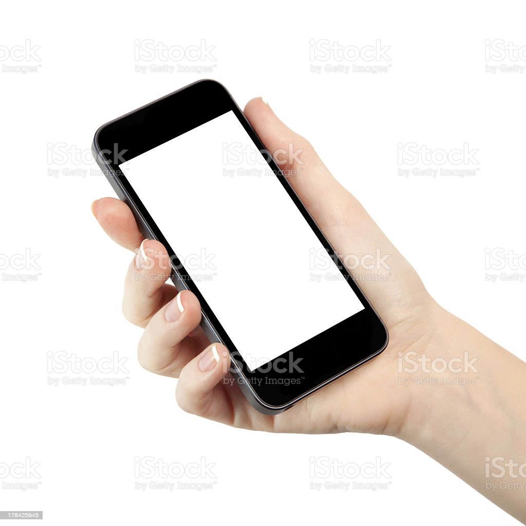 Woman's hand with black smartphone on white stock photo