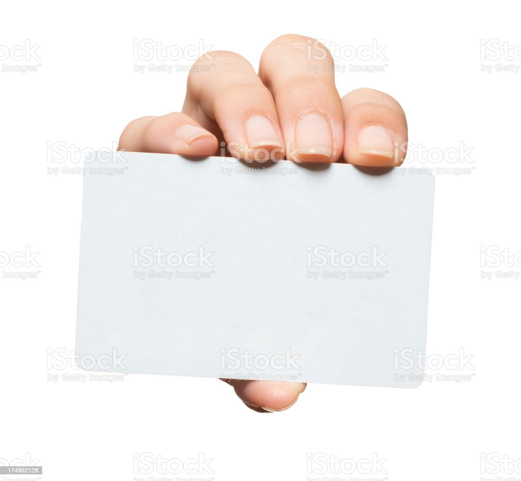 Woman's Hand with Blank Credit Card Isolated on White Background royalty-free stock photo