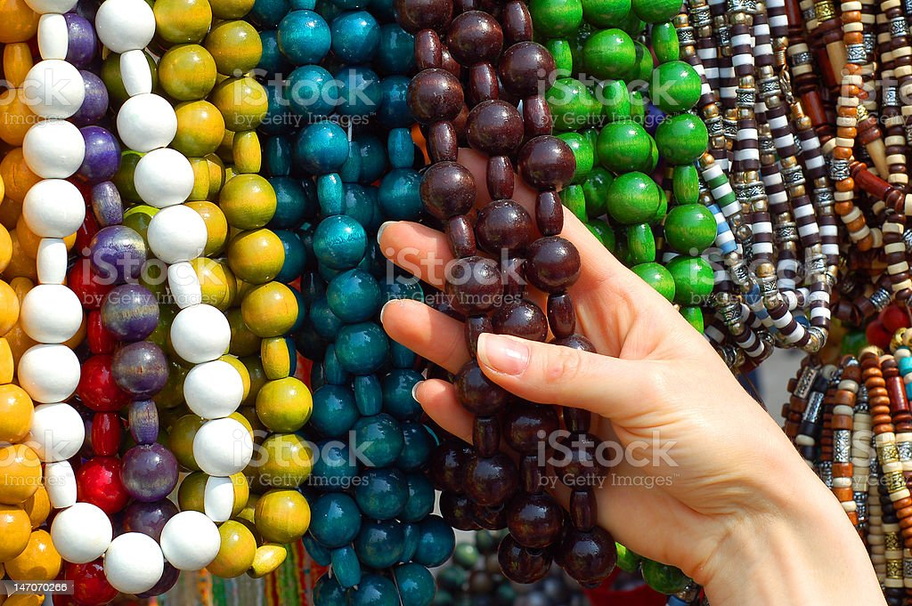 Woman's hand with necklaces royalty-free stock photo