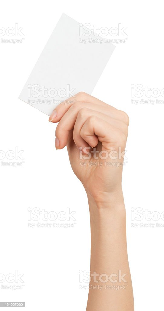 Womans hand with vertical small blank card stock photo
