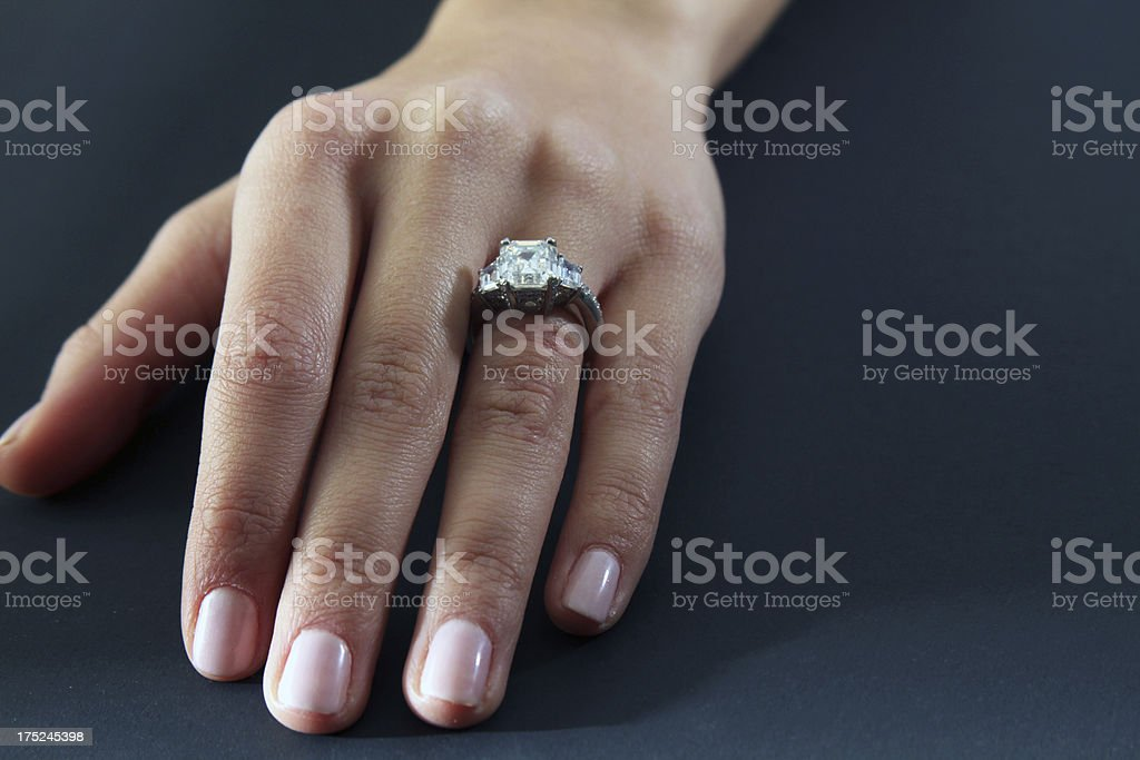 Woman's hand with wedding ring stock photo