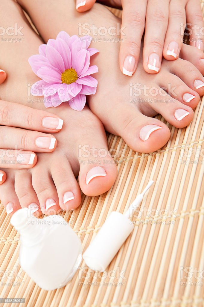 Woman's hands and feet with French manicure and pedicure royalty-free stock photo