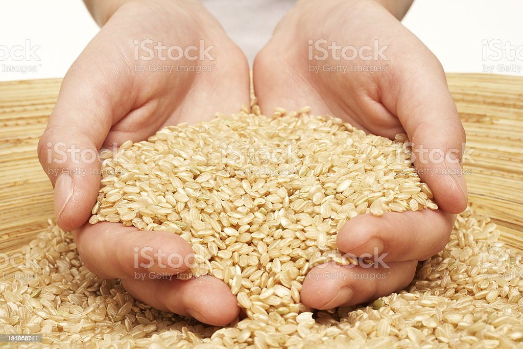 Woman's hands cup brown rice in a bamboo bowl. Close-up. royalty-free stock photo