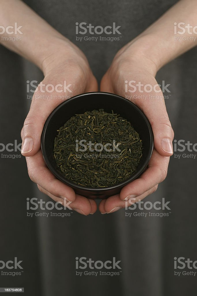 Woman's Hands Holding Green Tea royalty-free stock photo