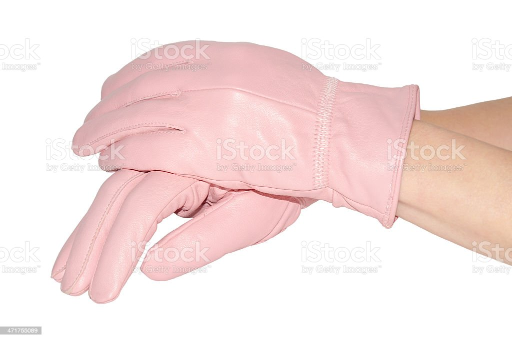 Woman's hands in pink leather gloves stock photo