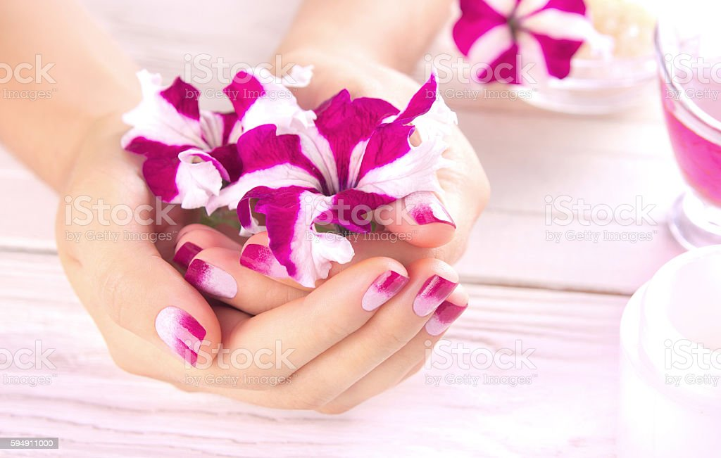Woman's hands with beautiful manicure stock photo