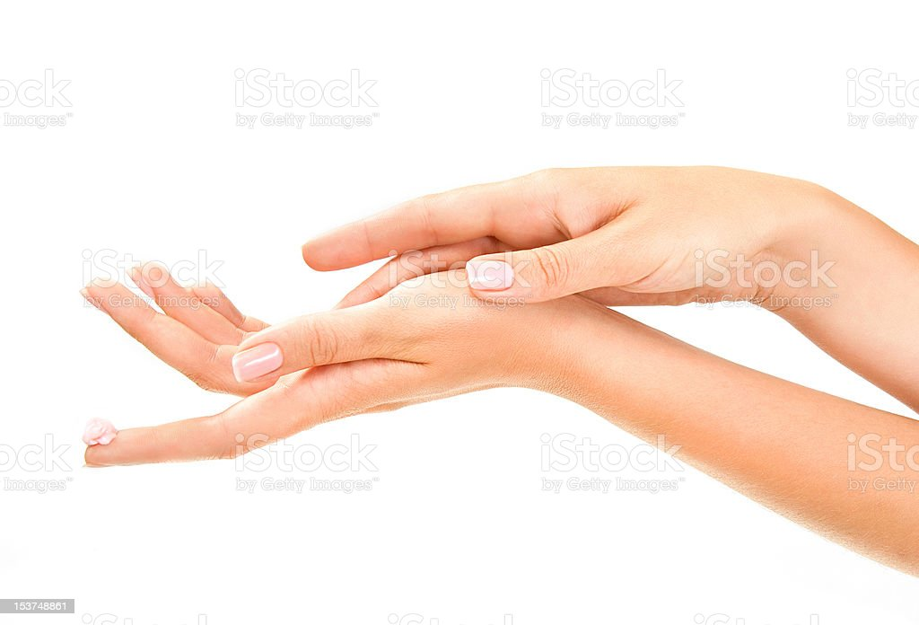 woman's hands with care cream stock photo
