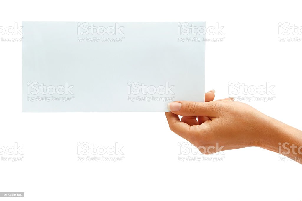 Woman's hold envelope stock photo
