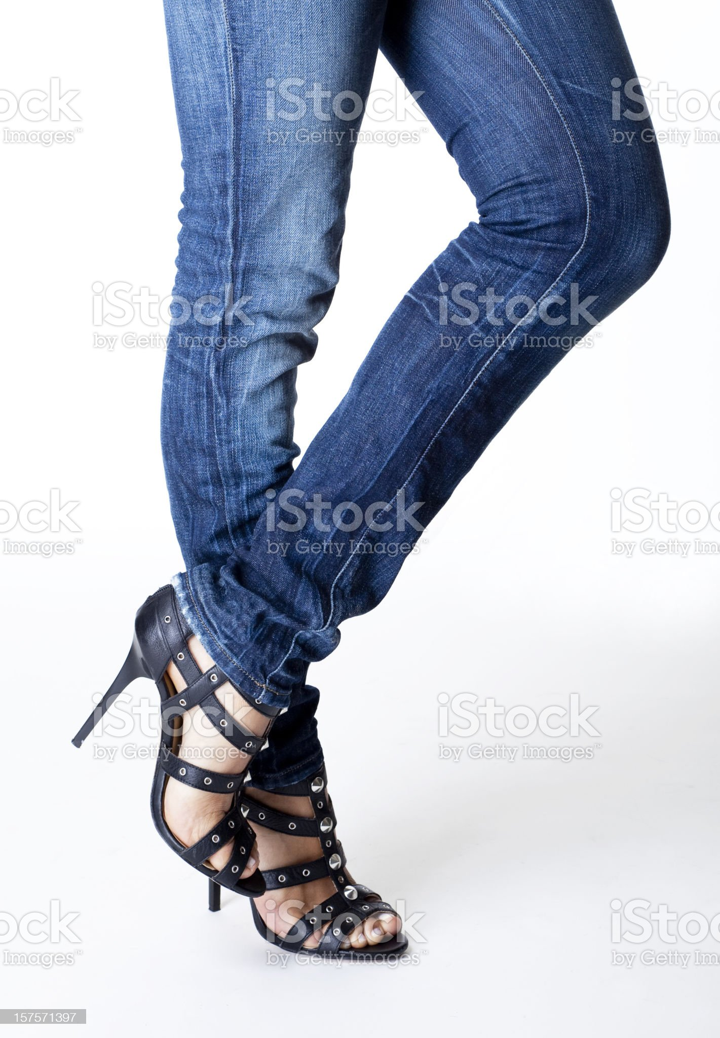 woman's legs and high heeled shoes royalty-free stock photo