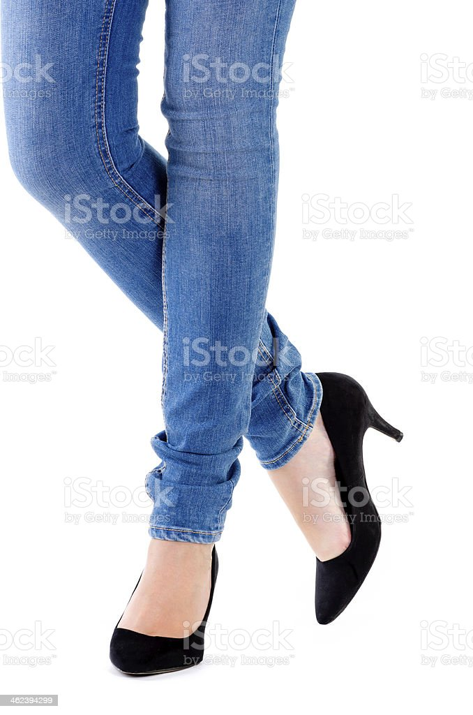 woman's legs and high heeled shoes stock photo