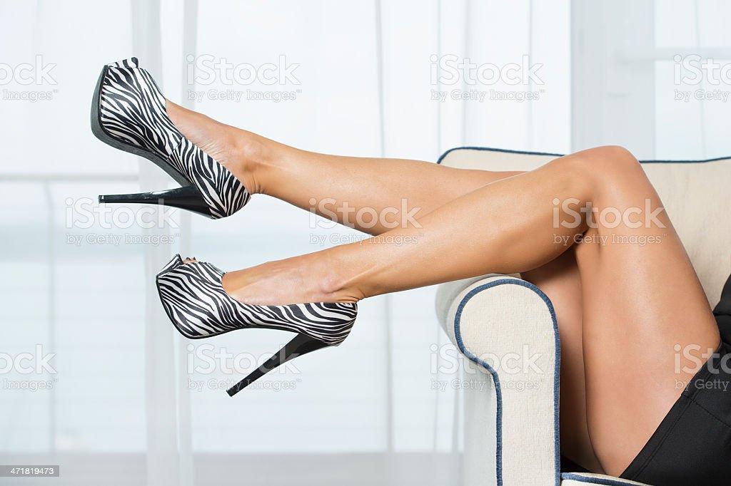 Woman?s legs in fancy platform High Heels Shoes royalty-free stock photo