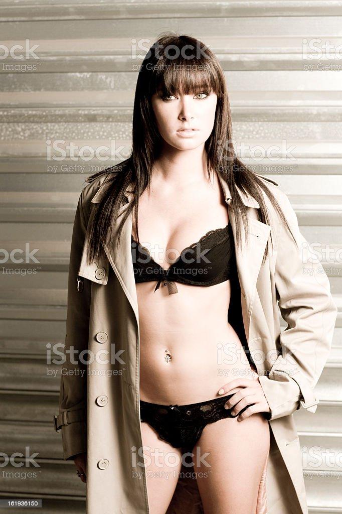 Woman's Lingerie & Trenchcoat Series stock photo