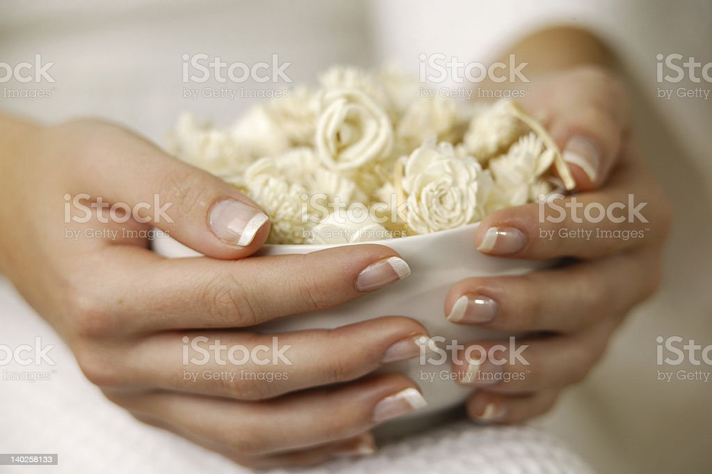 Woman's manicured hands holding bowl of flowers royalty-free stock photo