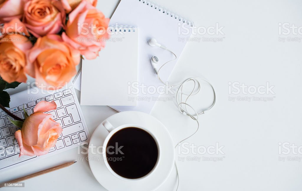 Woman's modern workspace stock photo