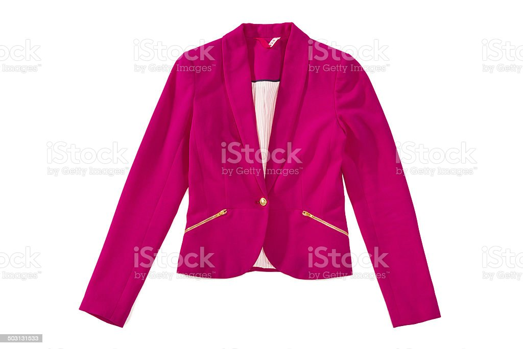 Woman's pink elegance blazer with golden zips and button, isolated stock photo