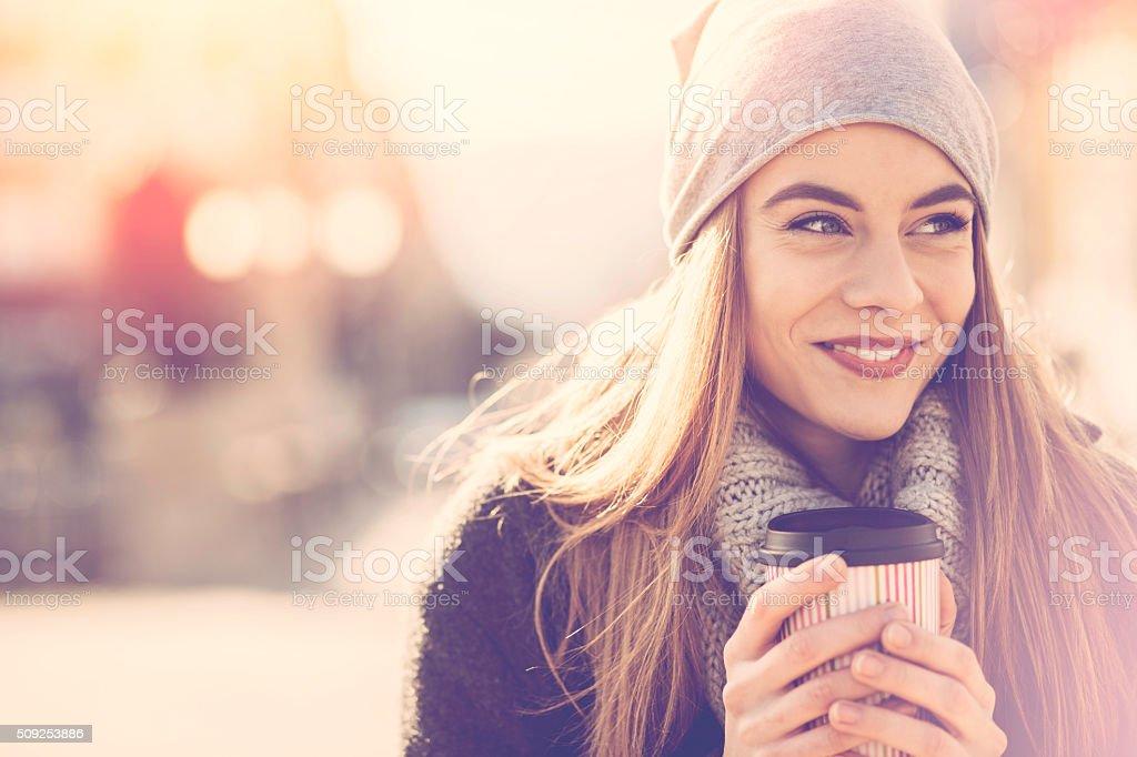 Woman's portrait at sunlight stock photo