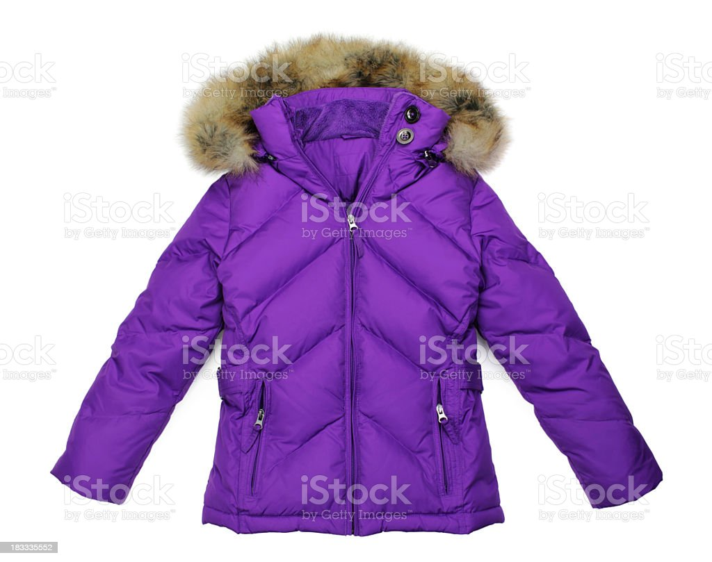 Woman's purple down-filled winter parka jacket on white stock photo