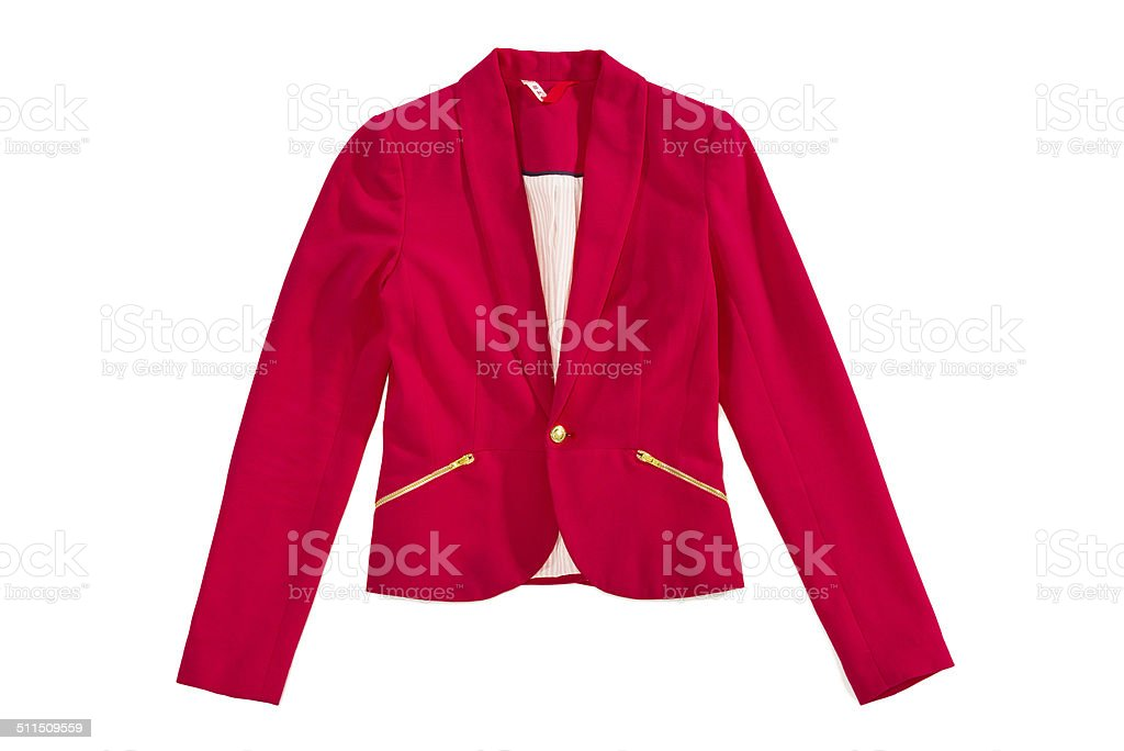 Woman's red elegance blazer with golden zips and button, isolated stock photo