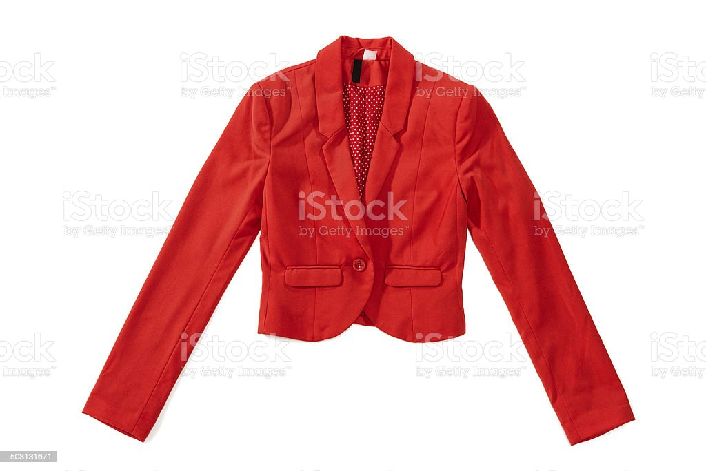 Woman's red elegance jacket with one button, lining in dots stock photo