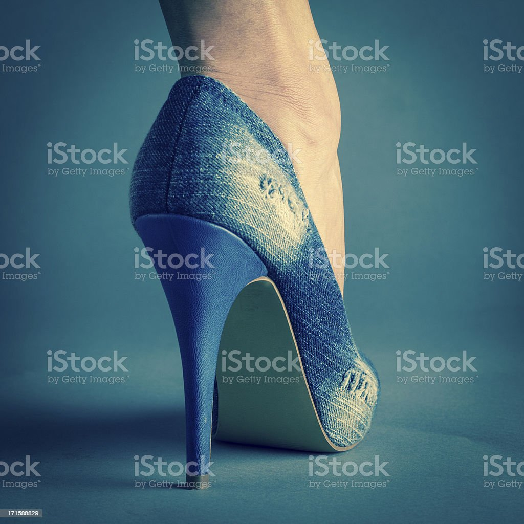 Woman's sexy high heels shoe detail royalty-free stock photo