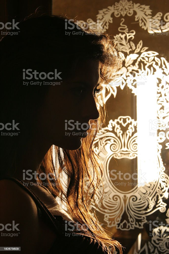 Womans silhouette in doorway royalty-free stock photo