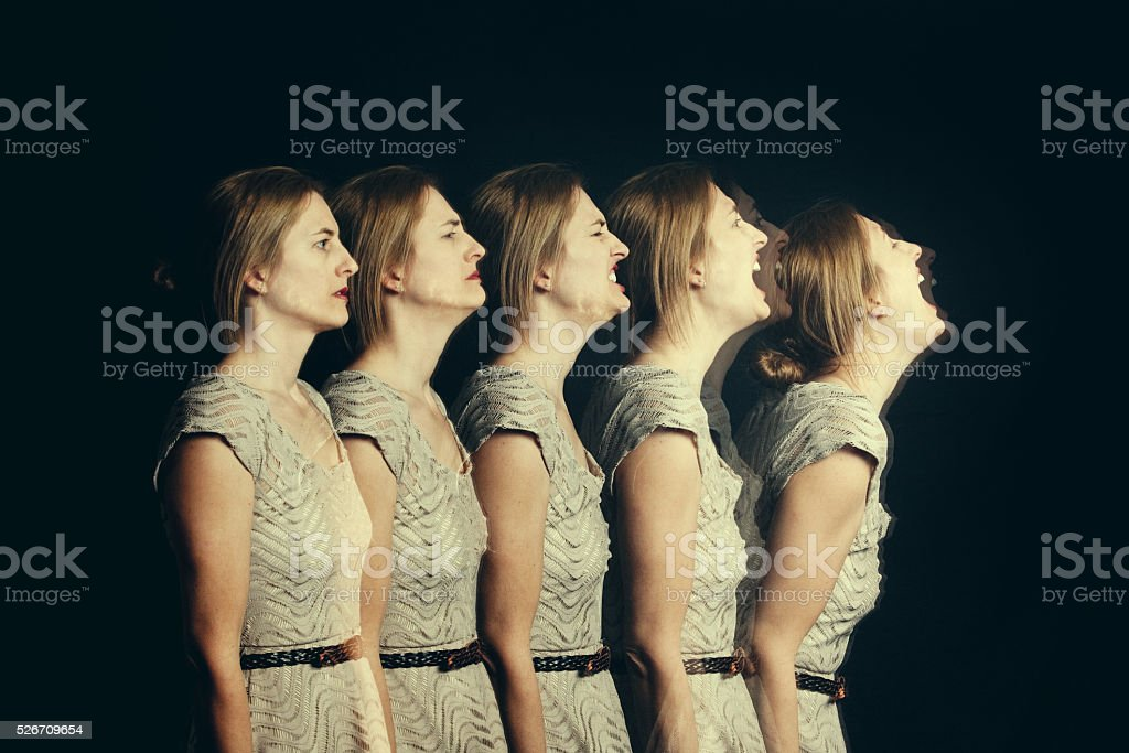 Woman's Stages Of Anger stock photo