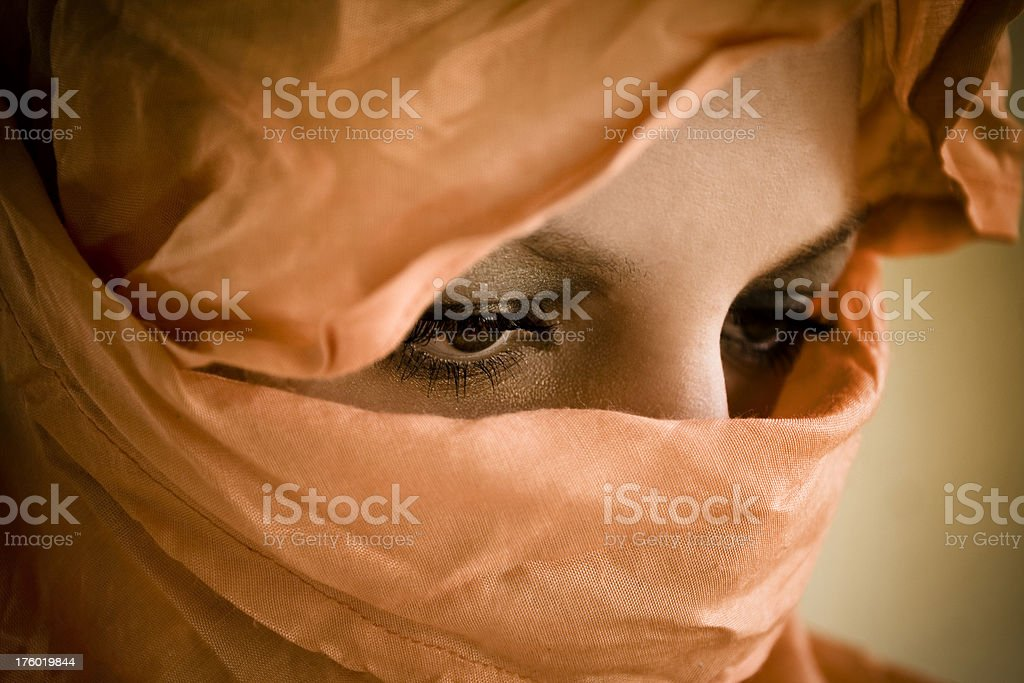 Woman's Veiled Face stock photo
