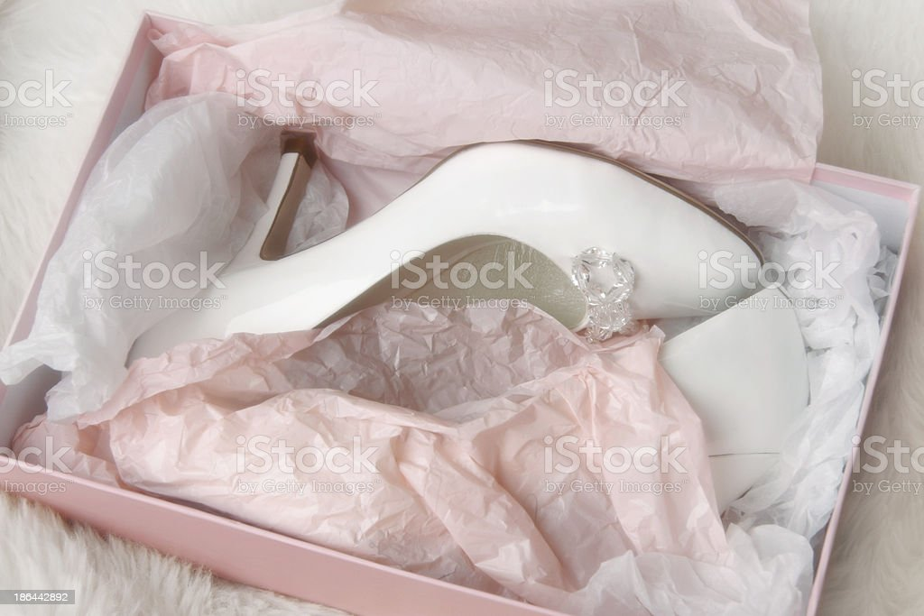 Woman's wedding shoes in box royalty-free stock photo