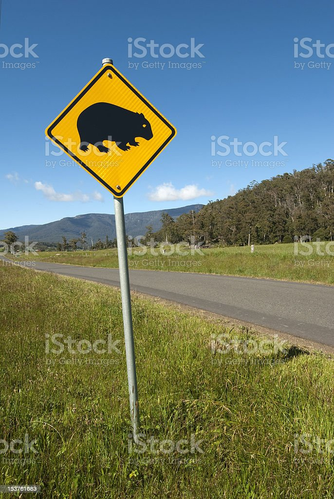 Wombats crossing sign stock photo
