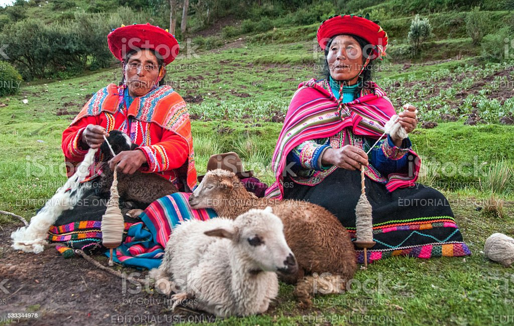 Women and Lamb. stock photo