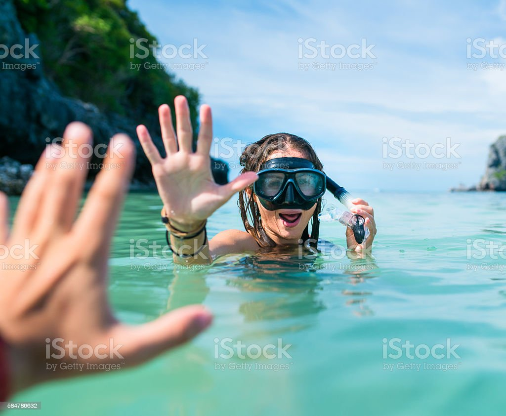 Women and sea stock photo