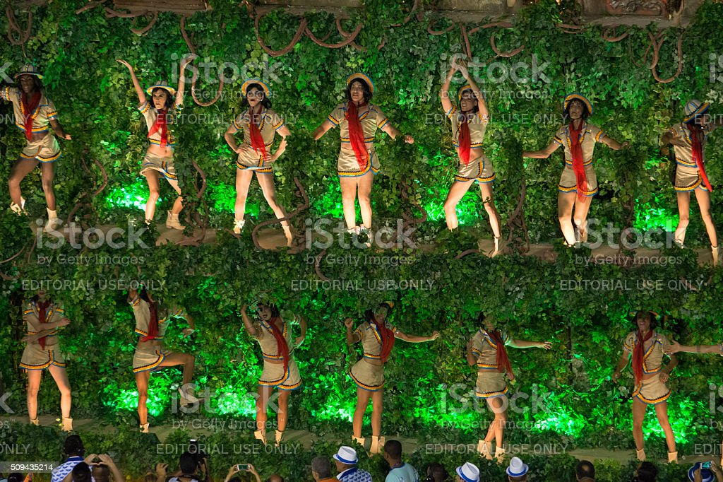 Women dancing with green leaves royalty-free stock photo
