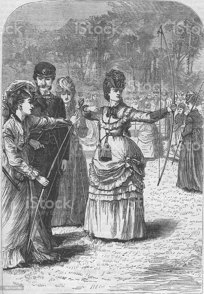 Women Archery at Regent's Park London 1879 Engraving royalty-free stock photo