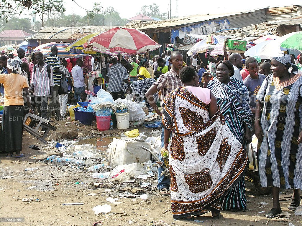 Women argue at Konyo Konyo Market, Juba, South Sudan. stock photo
