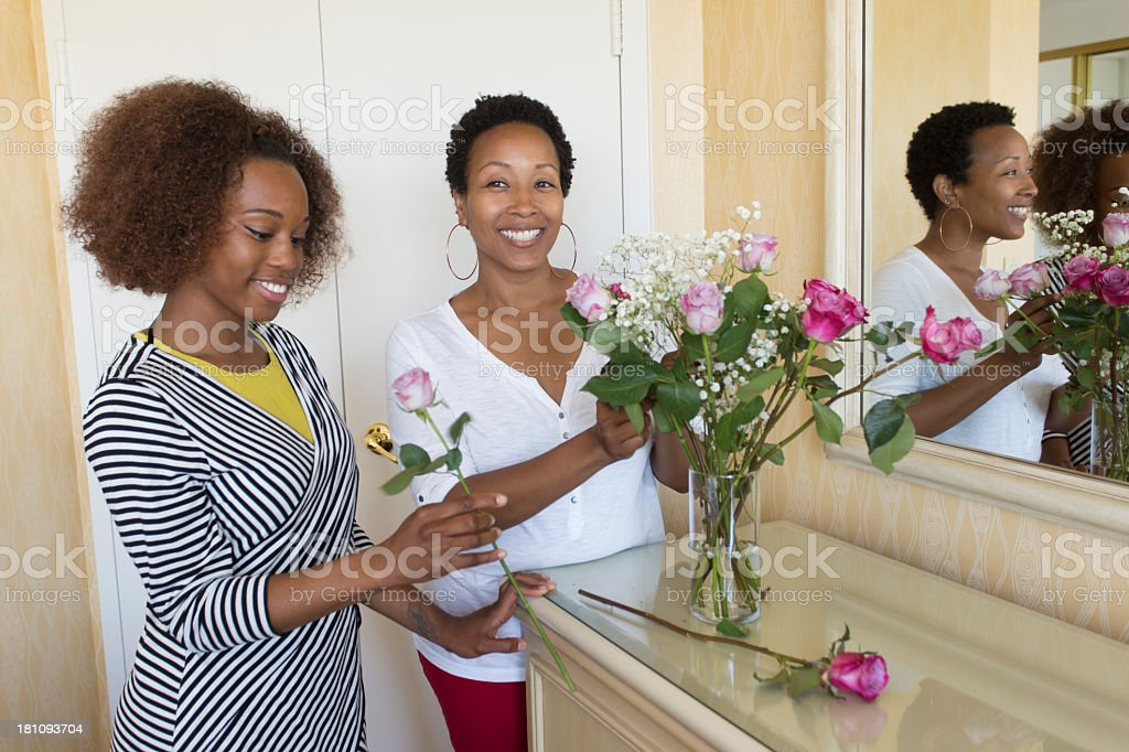 Women Arranging Flowers stock photo