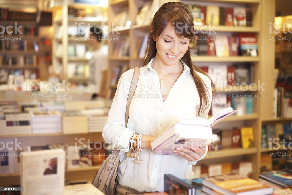 Women at bookstore stock photo