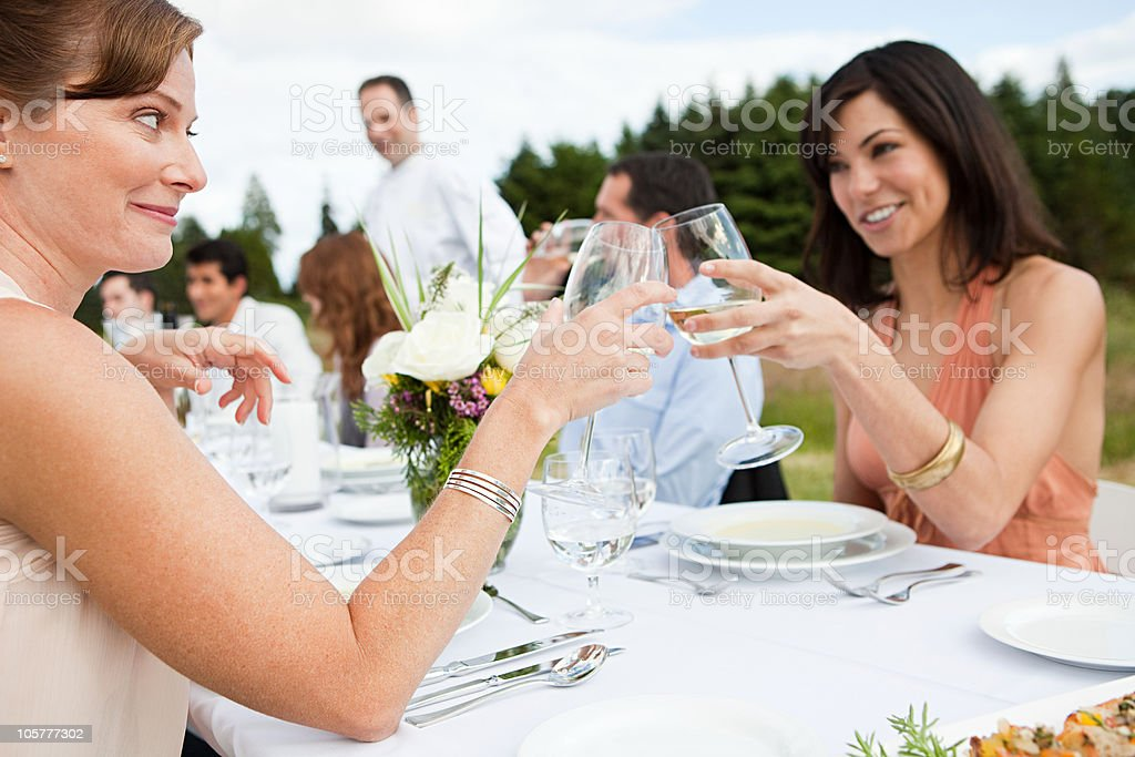 Women at dinner party outdoors royalty-free stock photo