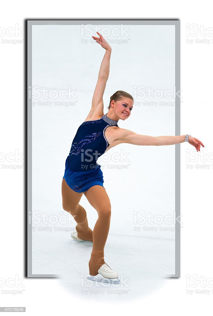 Women at Figure Skating Performance,  framed photo creating 3D look stock photo