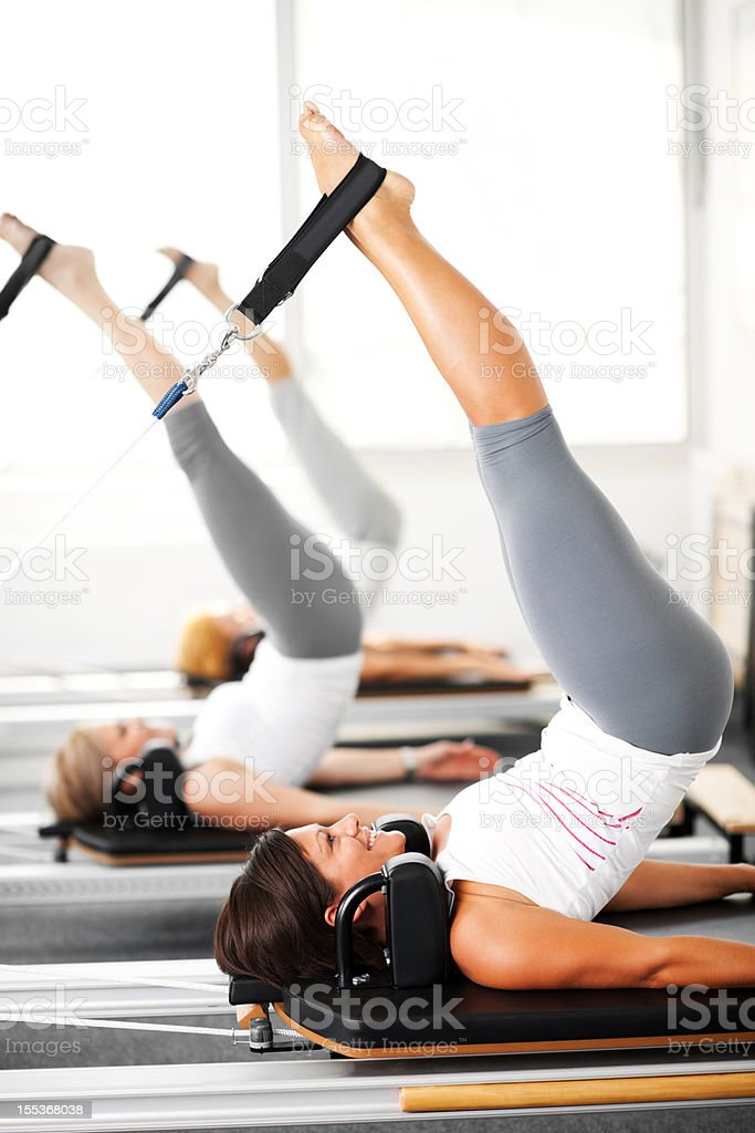Women at the Pilates club. stock photo