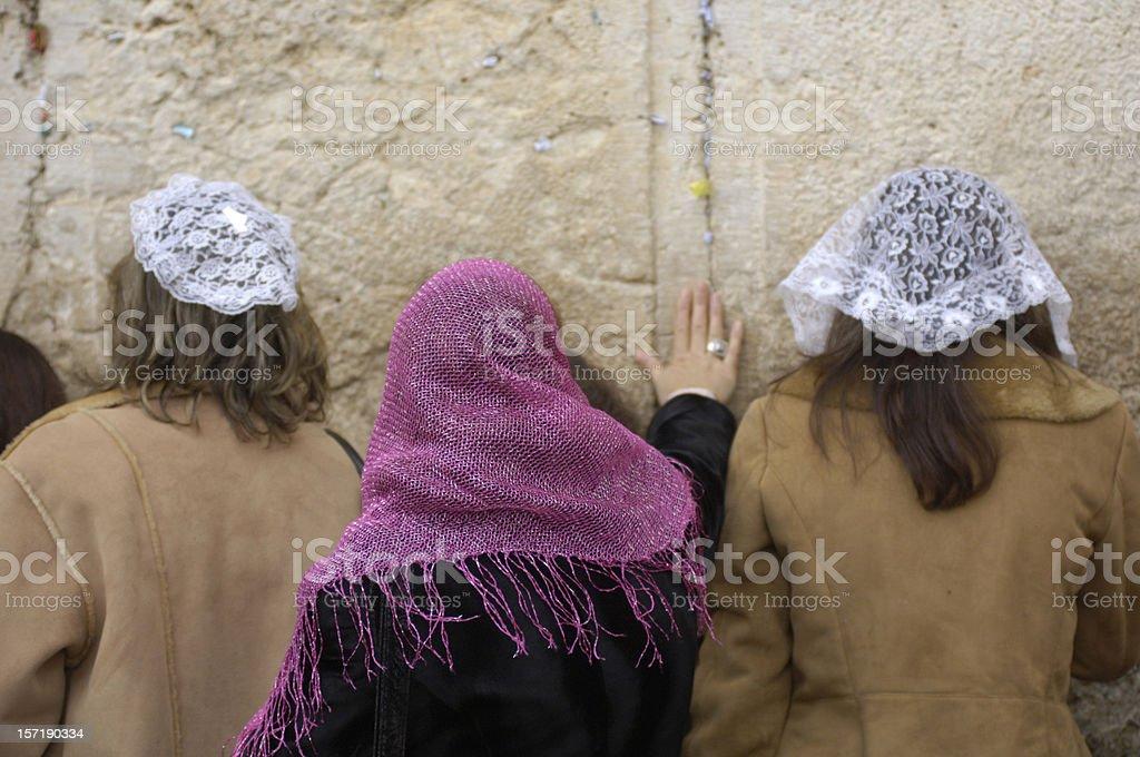 Women at the wailing wall royalty-free stock photo