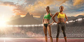 Women Athletes Standing in Olympic Stadium in Rio
