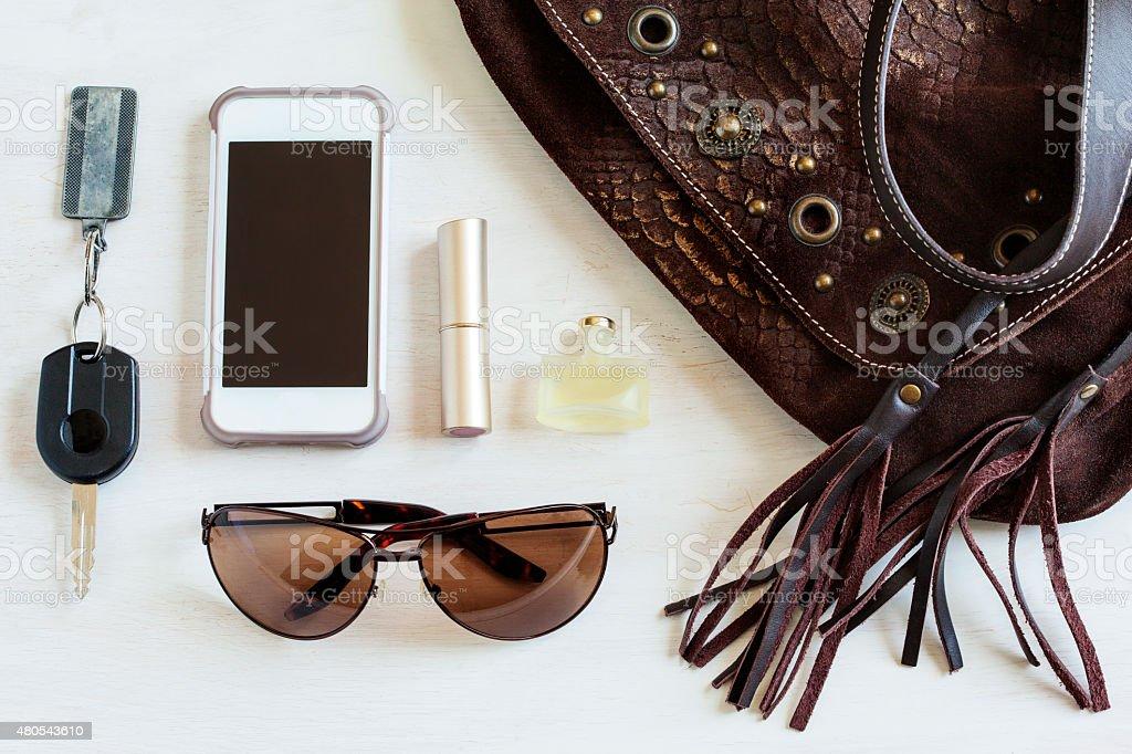 Women bag stuff, Handbag, Top view stock photo