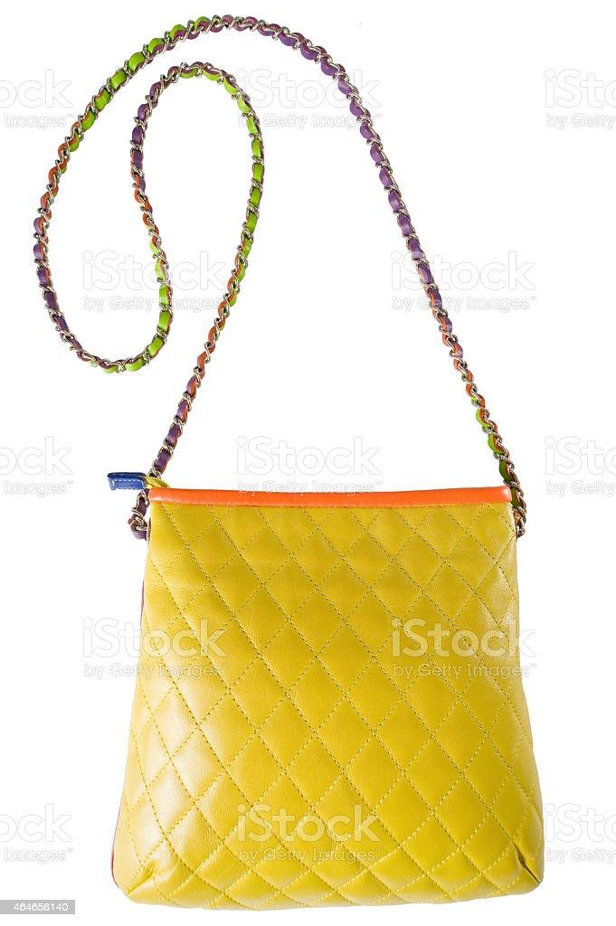 Women bag yellow. Isolated.. stock photo