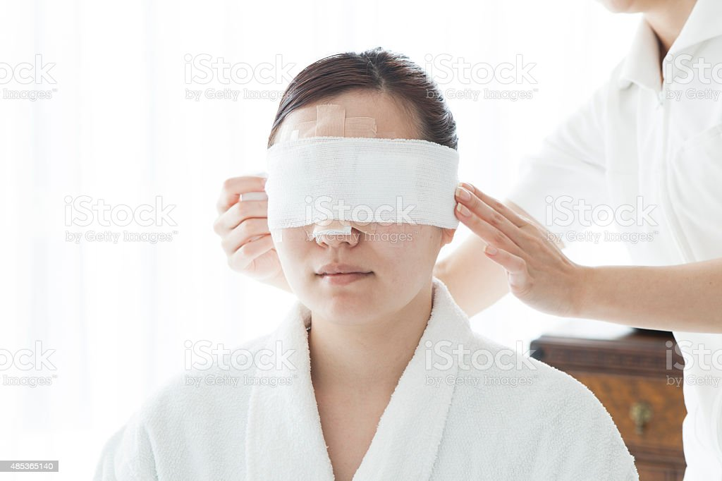 Women before cosmetic surgery stock photo