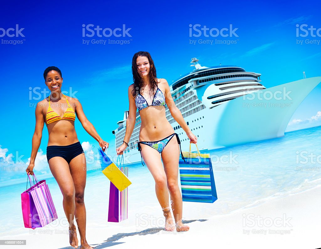 Women Bikini Shopping Bags Beach Summer Concept stock photo