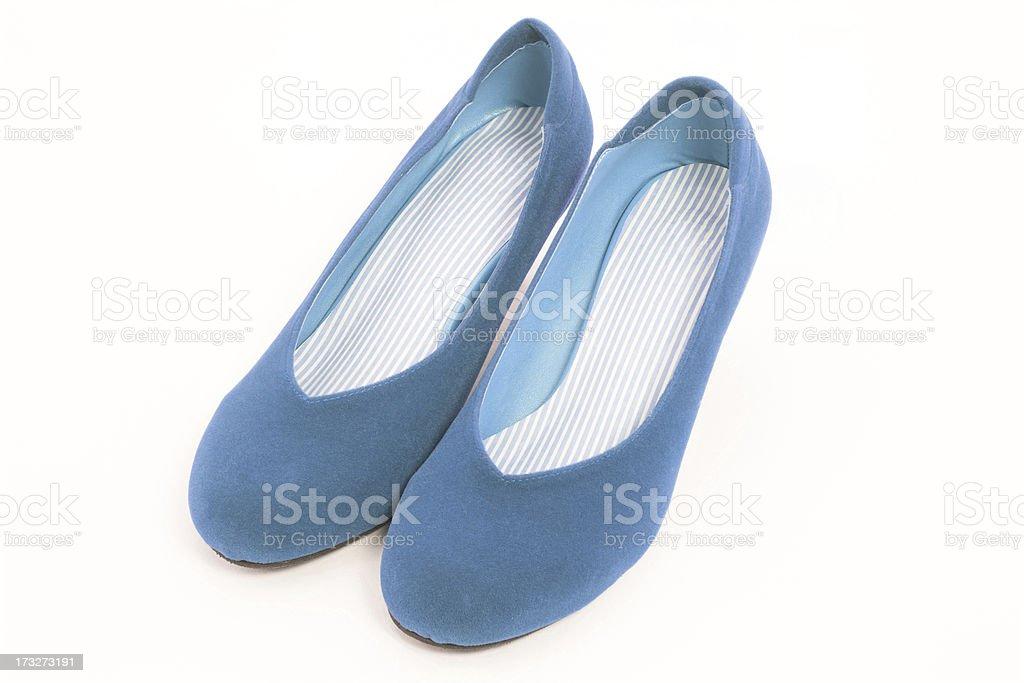 Women blue velvet shoes royalty-free stock photo