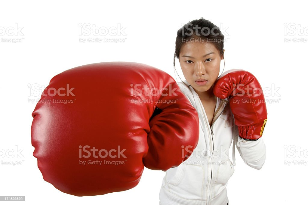women boxing punching red gloves royalty-free stock photo