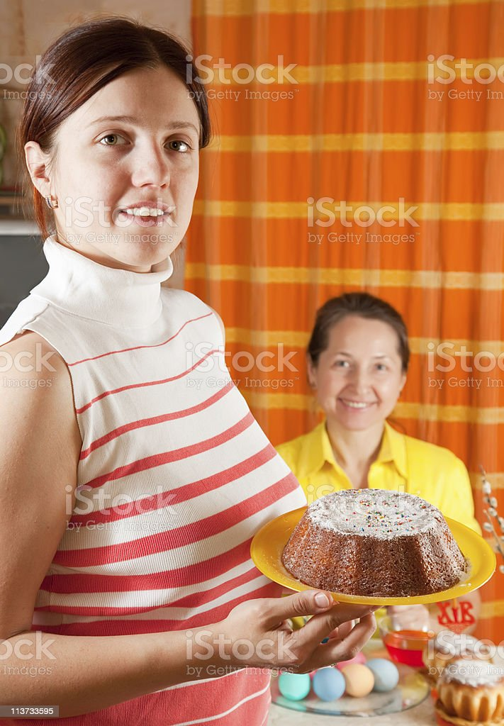 women celebrating Easter royalty-free stock photo