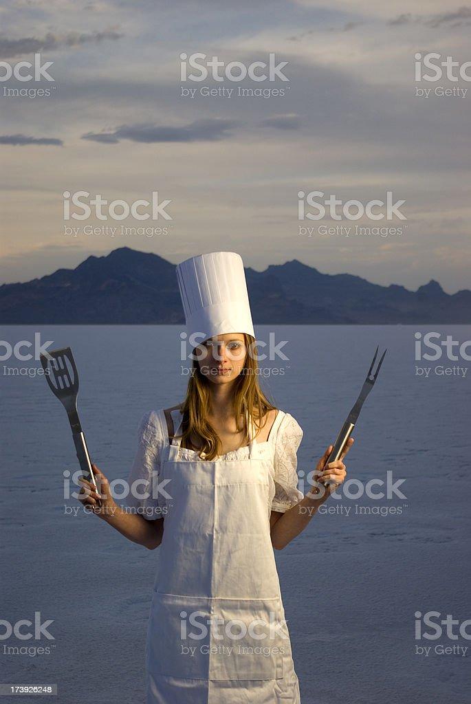women chef at the salt flats stock photo