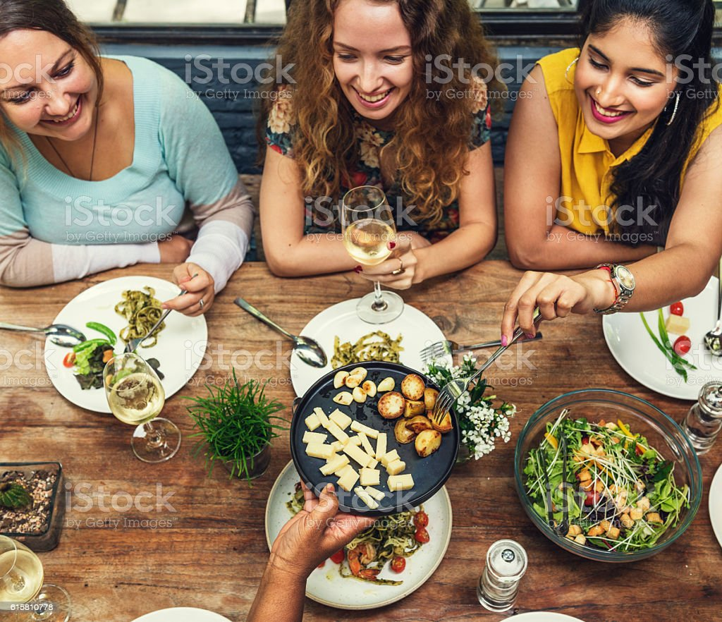 Women Communication Dinner Together Concept stock photo